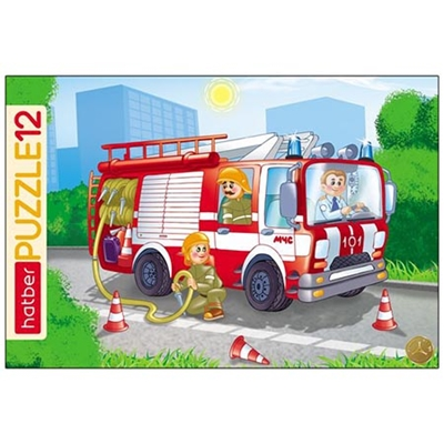 Пазлы 12 эл-в Hatber Пожарная машина 20*30см 102107/12ПЗ4_09342
