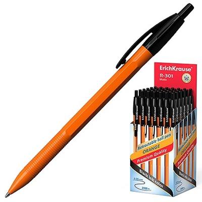 Ручка автомат черная Erich Krause 0,7мм R-301 оранж 38513