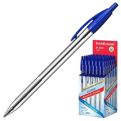 Ручка автомат синяя Erich Krause 1,0мм R-301 Classic Matic 38509