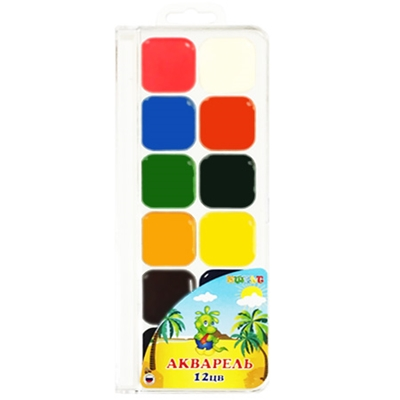Краски 12цв акварель KWELT без кисти пластик К-00108