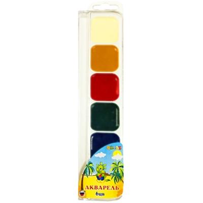 Краски 6цв акварель KWELT без кисти пластик К-00107