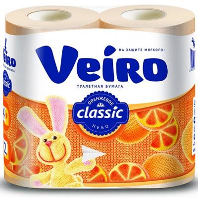 Туалетная бумага VEIRO Классик 4шт 2сл Жёлтая 12*48