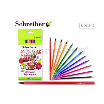 Карандаши цветные 12цв Schreiber Совы пластиковые S 0014-12