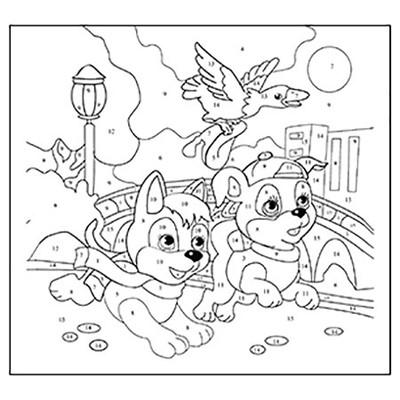 Живопись по номерам Рыжий кот 15*15см Веселые щенки X-0380