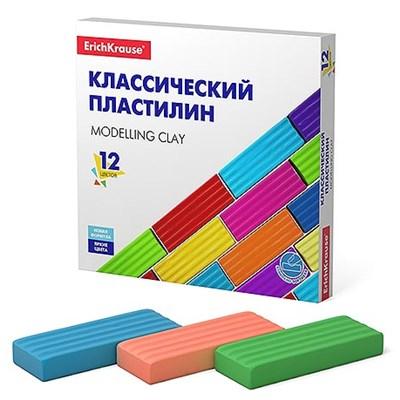 Пластилин 12цв Erich Krause Basic 192г со стеком картон 50558