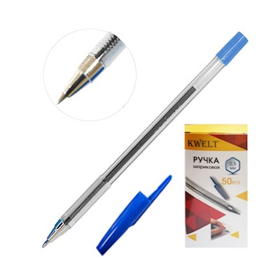 Ручка шариковая синяя KWELT 0,5мм рифл держатель К-03107