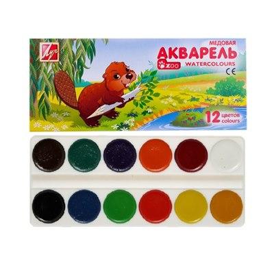 Краски 12цв акварель Луч Зоо в карт уп, без кисти 19С1247-08