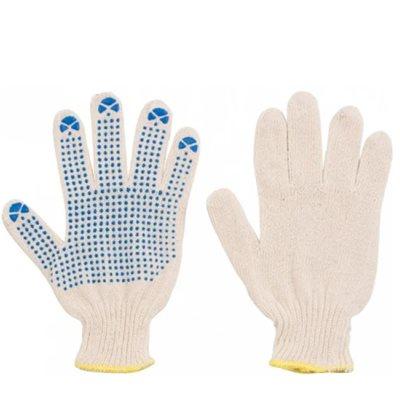Перчатки рабоч х/б КЛ 10 нитей 4 ПВХ белые