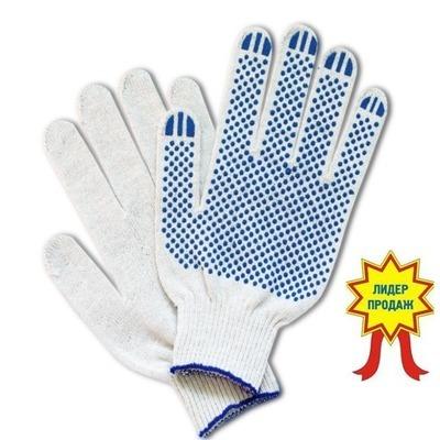 Перчатки рабоч х/б КЛ 10 нитей 6 ПВХ белые Точка
