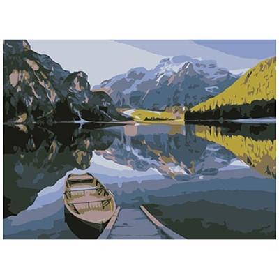 Живопись по номерам Рыжий кот 22*30см Лодка на озере HS120