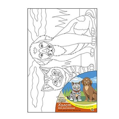 Живопись по номерам Рыжий кот 20*30см Котенок и щенок X-1661