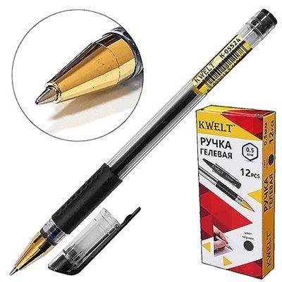 Ручка гелевая черная KWELT 0,5мм К-05524