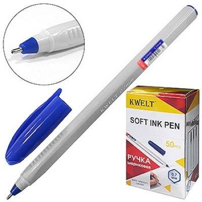 Ручка шариковая синяя Kwelt трехгранная 0,7мм К-04445