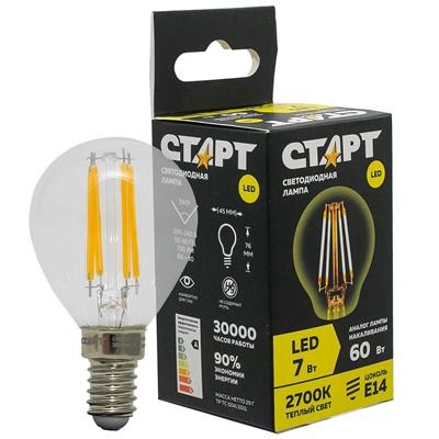 Лампа светод Старт нить Е14 7Вт 2700К F-Sphere