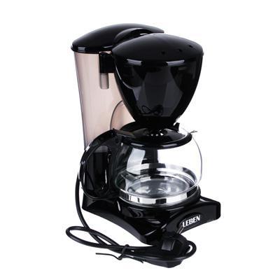Кофеварка капельная 650Вт, LEBEN стеклянная колба 0,6л 286-024