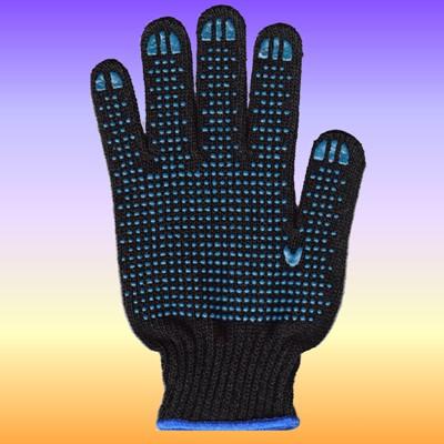 Перчатки рабоч х/б КЛ 10 нитей 5 ПВХ черные Точка