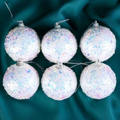 Набор шаров пластик 6см 6шт Снежное сияние 5043648