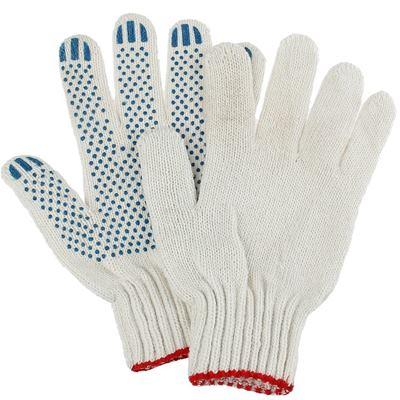 Перчатки рабоч х/б КЛ 7,5 нитей 9 ПВХ белые Точка