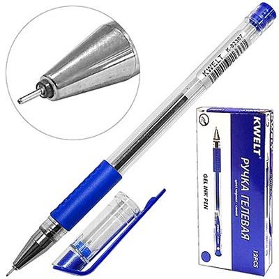 Ручка гелевая синяя KWELT 0,5мм резиновый держатель К-03307