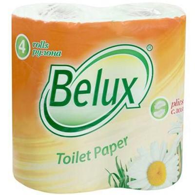 Туалетная бумага белая Белюкс 2-х сл 4шт 20м, 170л