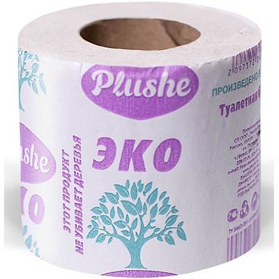 Туалет бумага EcoPlushe 35м, 1слой, серая, втулка плюше