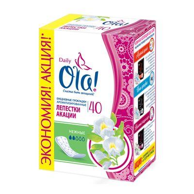 Прокладки ежедн Ола 2 кап 40шт аромат Лепестки акации