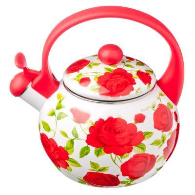 Чайник эмалиров со свистком 2,2л Vetta Цветы 894-406