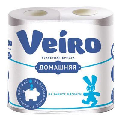 Туалетная бумага Veiro белая Домашняя 4шт 2сл