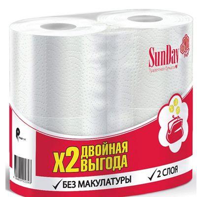 Туалетная бумага белая SunDay 4шт 2сл Сандей