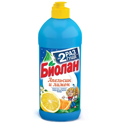 Жидкость для посуды Биолан 450мл Апельсин и лимон