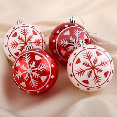Набор шаров пластик 8см 4шт Снежинка красно-белый 4192483