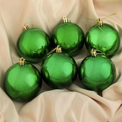 Набор шаров пластик 8см 6шт Глянец зеленый 735677