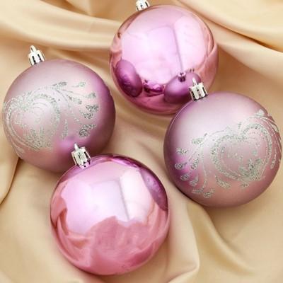Набор шаров пластик 8см 4шт Феерия розовый 4250868