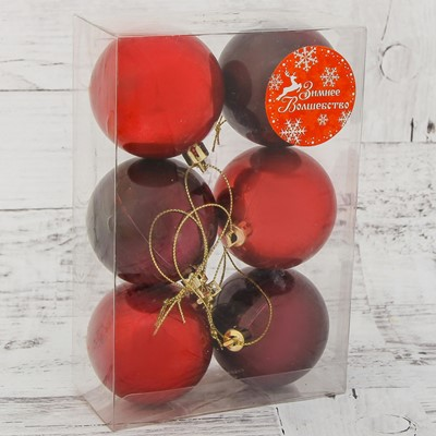 Набор шаров пластик 6см 6шт Глянец красный 2137208