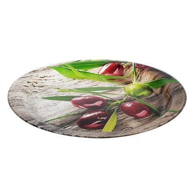 Блюдо круглое Оливки, стекло, 37см 830-553
