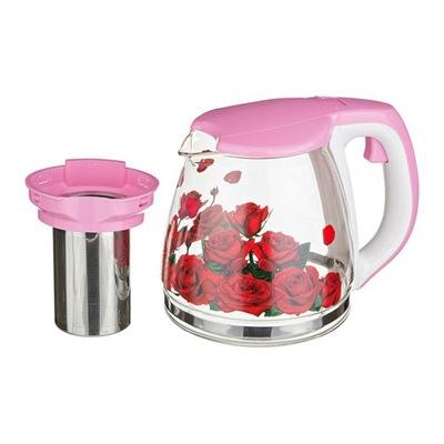Чайник заварочный 1100мл стекло Розарий 080В
