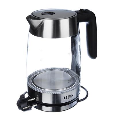 Чайник электр 1,8л 1850Вт LEBEN стекло, подсветка 291-069