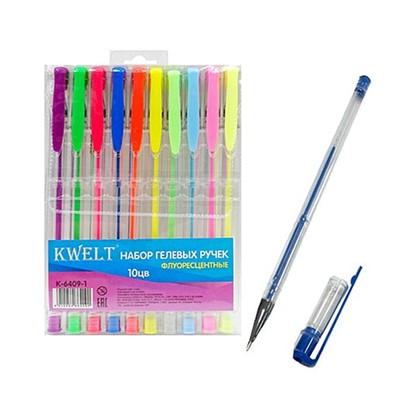 Набор гелевых ручек 10цв KWELT флуоресцентный К-6409-1