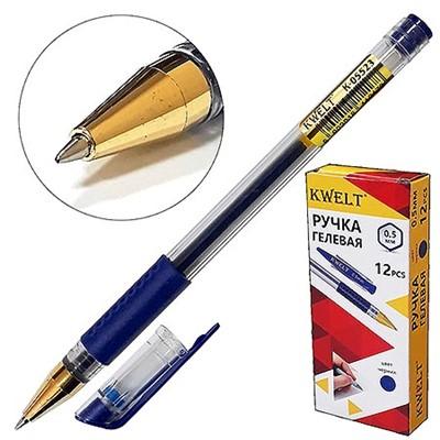 Ручка гелевая KWELT синий 0,5мм, резиновый держатель К-05523