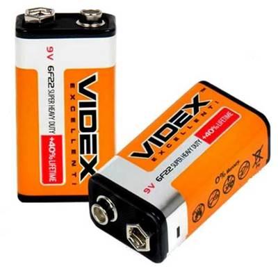 Батарейка крона 6F22 Видекс, солевая, цена за 1шт