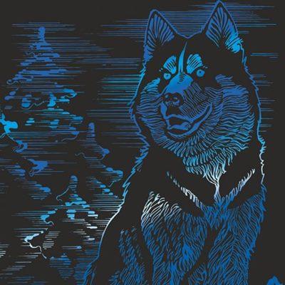 Гравюра Lori 18*24см Animals с эфф синий Гр-427