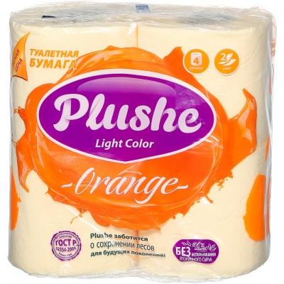 Туалетная бумага Plushe Плюше Light Color 4шт*15м 2-сл желтая