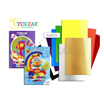 Картон цветной 10л 10цв А4 Tukzar золото + серебро TZ 8131